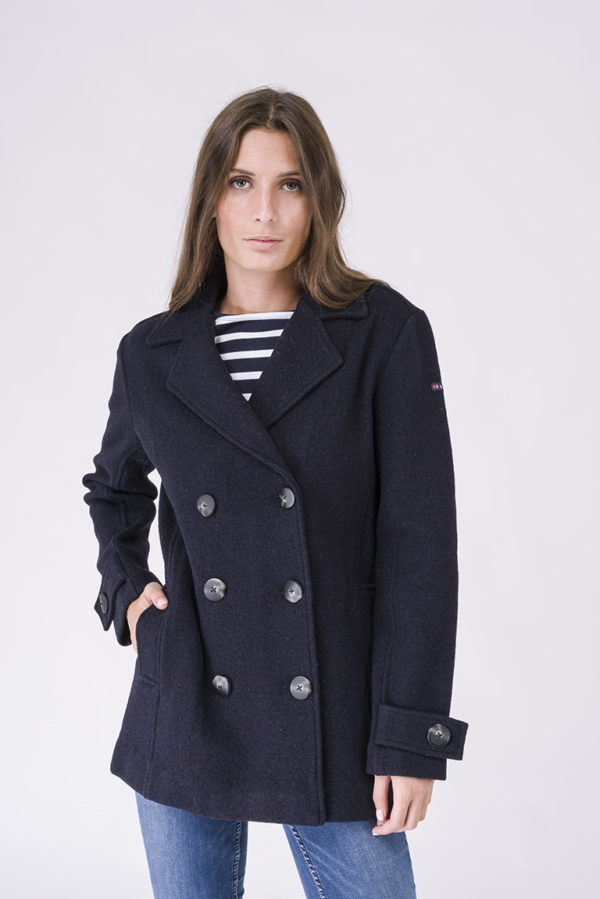 NAVY DOUBLE BRESTED PEACOAT - BATELA
