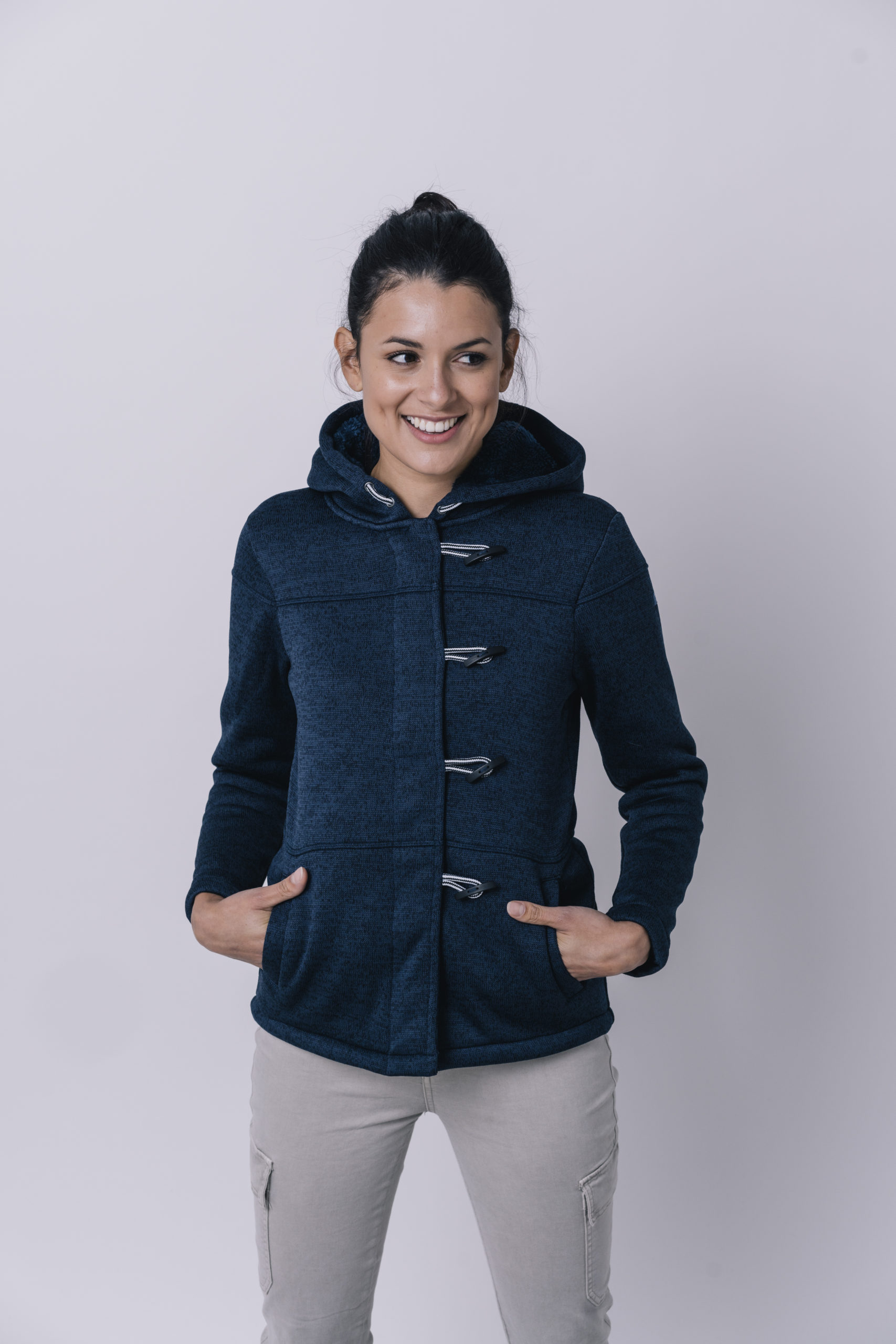 NAVY FLEECE VEST MET CAPUCHON